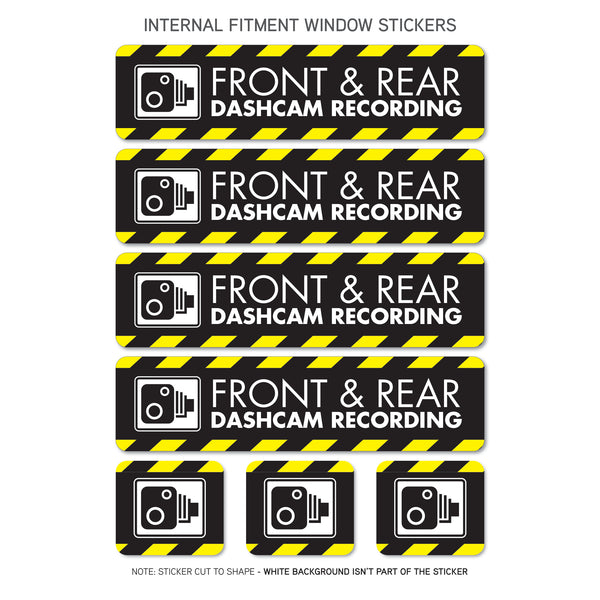 7 x Dash Camera Stickers - Window Fitment