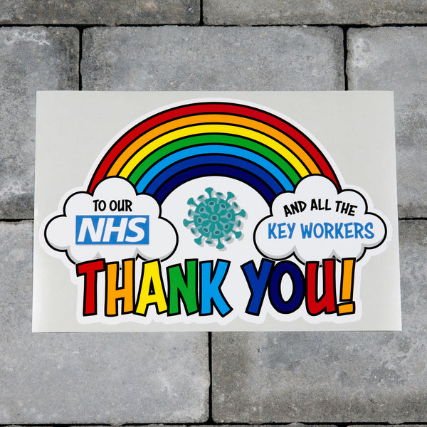 Rainbow Window Sticker Thank You Our NHS And Key Workers - A