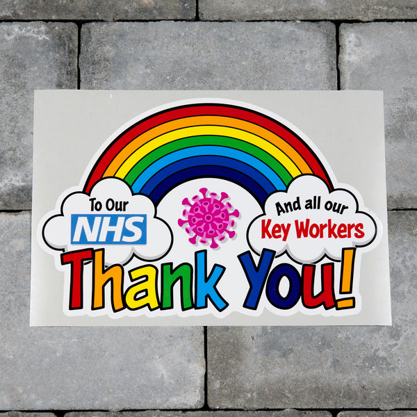 Rainbow Window Sticker Thank You Our NHS And Key Workers - B