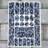 Bicycle Frame Protection Stickers - Blue Camo Pattern