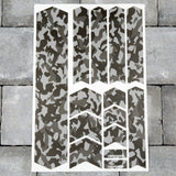 Bicycle Frame Protection Stickers - Black/Grey Camo Patterns