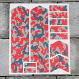 Bicycle Fork Protection Stickers - Red/Blue/Grey Camo Patterns