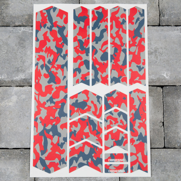 Bicycle Frame Protection Stickers - Red Camo Patterns
