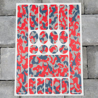 Bicycle Frame Protection Stickers - Red Camo Pattern