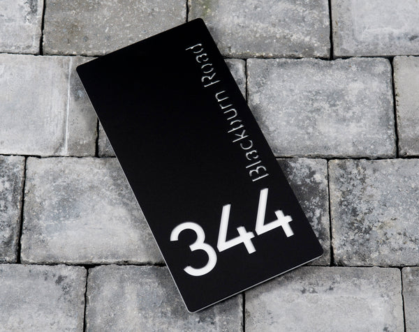 House Number Door Sign - Rectangle - 150mm Wide 300mm Tall x 6mm Deep - Laser Cut Design