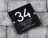 House Number Door Sign - Square - 200mm Wide 200mm Tall x 6mm Deep - Laser Cut Design