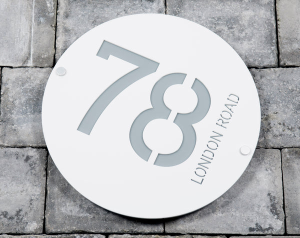 House Number Door Sign - Round - 300mm Wide 300mm Tall x 6mm Deep - Laser Cut Design
