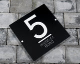 House Number Door Sign - Square - 300mm Wide 300mm Tall x 6mm Deep - Laser Cut Design