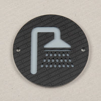 Toilet - Bathroom - Washroom - Changing Room - Door/Wall Sign - Black - 100mm Round