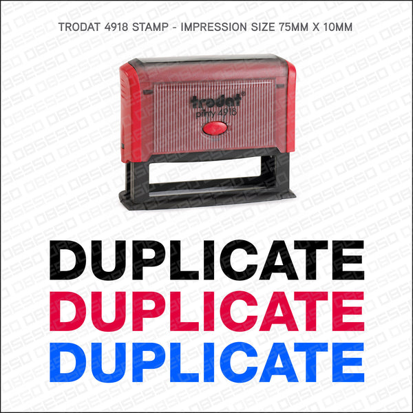 Duplicate Self Inking Rubber Stamp - Stamp - OBSESSO - www.obsesso.co.uk
