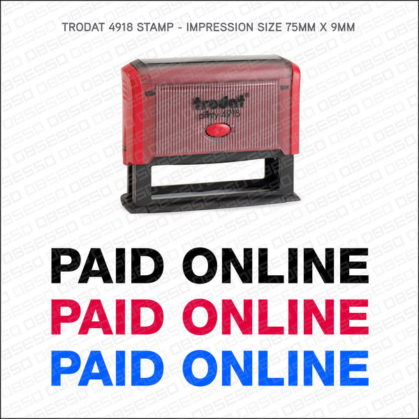 Paid Online Self Inking Rubber Stamp - Stamp - OBSESSO - www.obsesso.co.uk