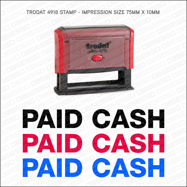 Paid Cash Self Inking Rubber Stamp - Stamp - OBSESSO - www.obsesso.co.uk