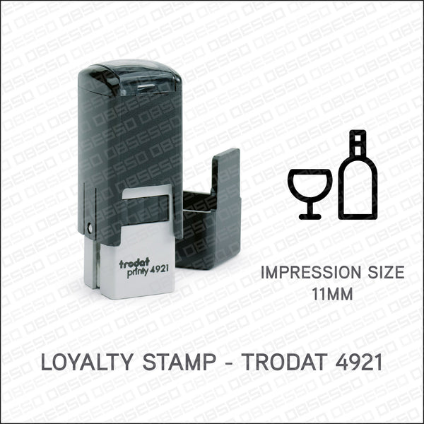 Loyalty Card Stamp - Wine & Glass - Trodat 4921 - Stamp - OBSESSO - www.obsesso.co.uk