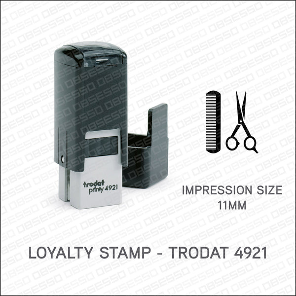 Loyalty Card Stamp - Scissors & Comb - Trodat 4921 - Stamp - OBSESSO - www.obsesso.co.uk