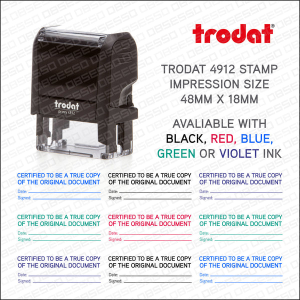 Certified Copy Legal Self Inking Rubber Stamp Trodat 4912 - Stamp - OBSESSO - www.obsesso.co.uk