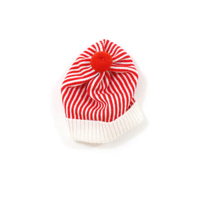 Candy Stripe Hat, red - soft knitted Lambswool hat
