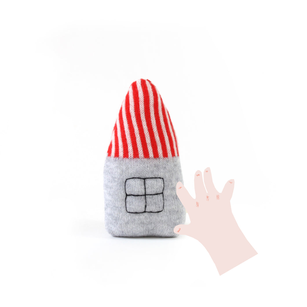 House Baby Rattle - soft knitted Lambswool toy