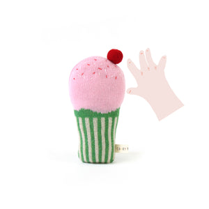 Cupcake Baby Rattle - soft knitted Lambswool toy
