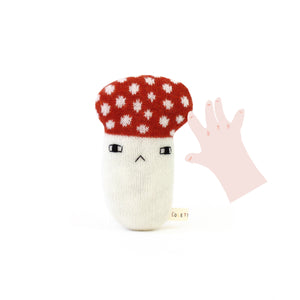 Mushroom Baby Rattle - soft knitted Lambswool toy