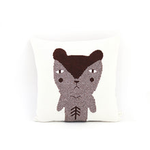 Knitted Portrait of a Bear - Wool/Leather pillow