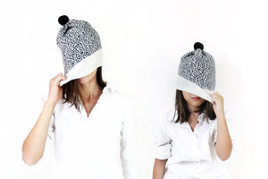 Salt and Pepper Hat, white - soft knitted Lambswool hat