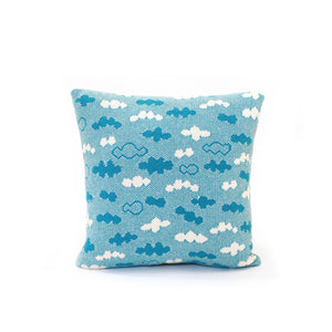 Blue Skies Cushion - Wool/Leather pillow
