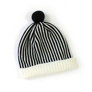 Candy Stripe Hat, black - soft knitted Lambswool hat