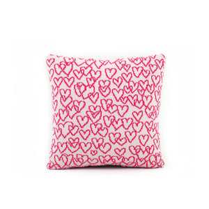 Scribbly Hearts Cushion - Wool/Leather pillow