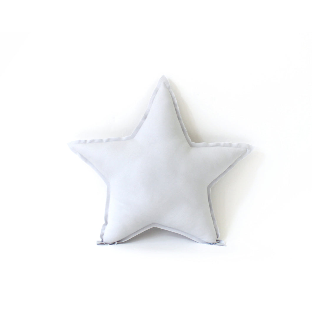 Star Pillow - soft cotton in washed grey