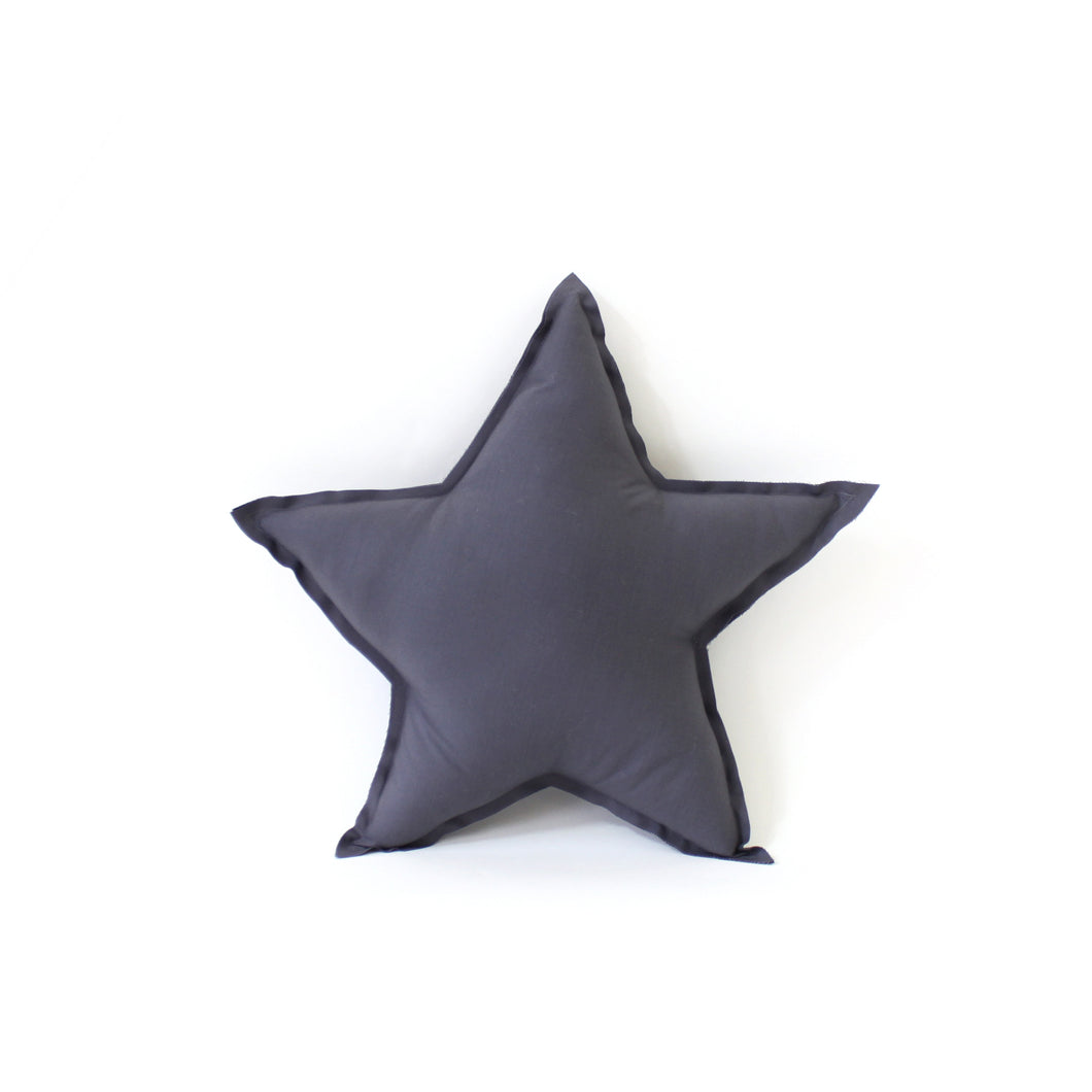 Star Pillow - soft cotton in graphite grey