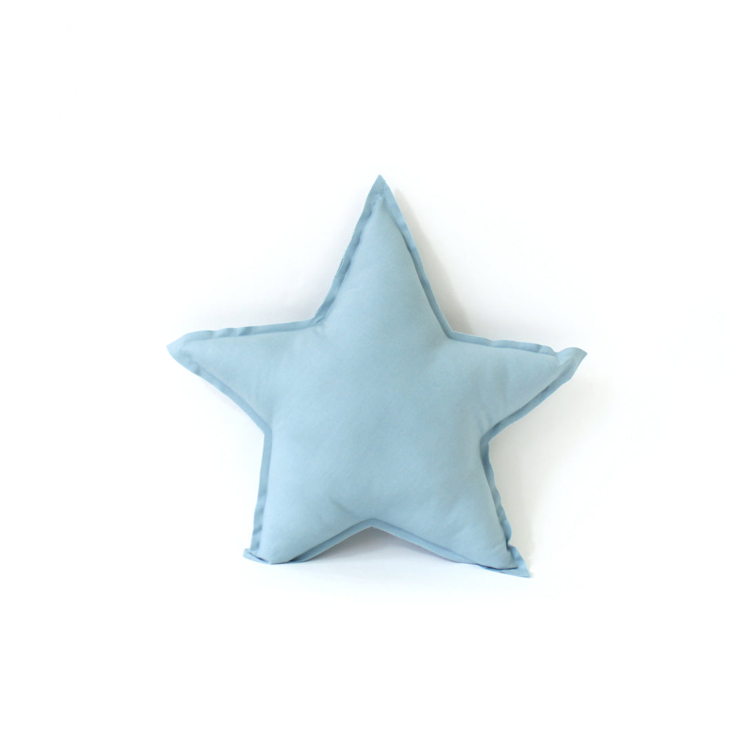 Star Pillow - soft cotton in cloud blue