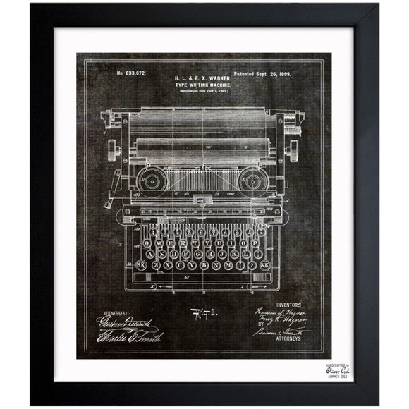 'Type Writing Machine 1899' Framed Art - PoppyLy