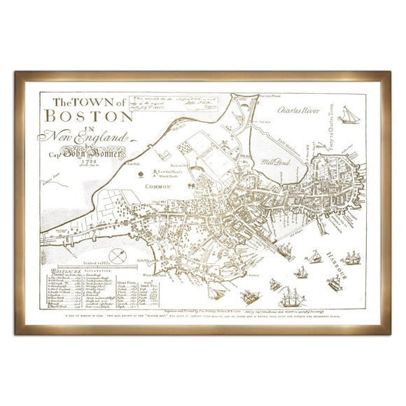 'Town of Boston Map 1722- Gold Metallic' Framed Art - PoppyLy