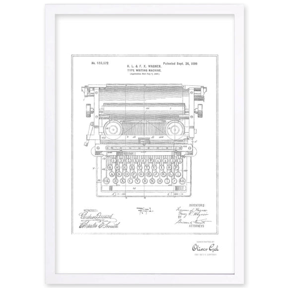 'Type Writing Machine 1899, Silver Metallic' Framed Art - PoppyLy