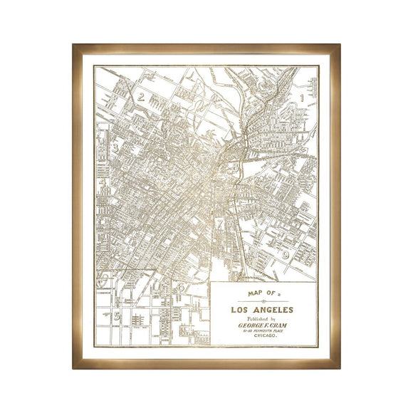 'Los Angeles Map 1889- Gold Metallic' Framed Art - PoppyLy