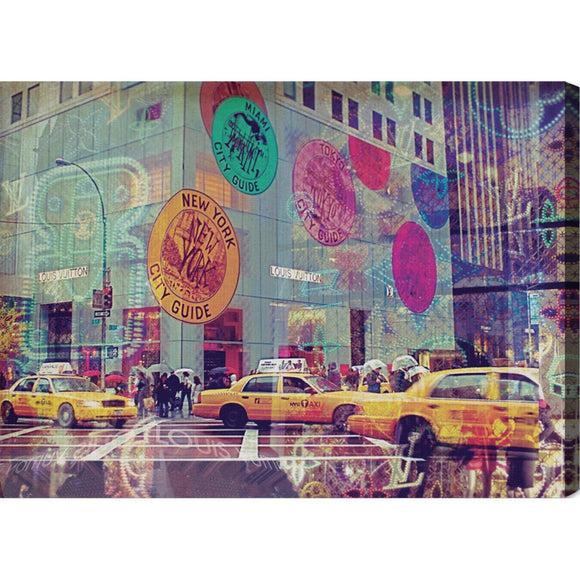 'NYC Fashion Taxi' Canvas Art - PoppyLy