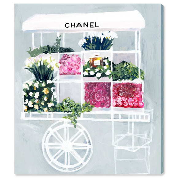 'Fashion Flower Cart' Canvas Art - PoppyLy
