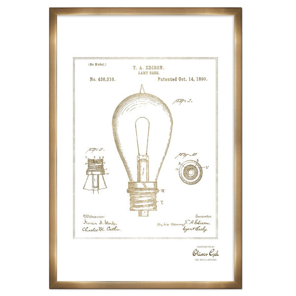 'Edison Lamp Base 1890 , Gold Metallic ' Framed Art - PoppyLy