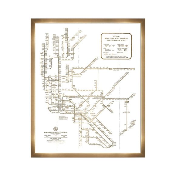 'New York Subway Map 1958- Gold Metallic' Framed Art - PoppyLy