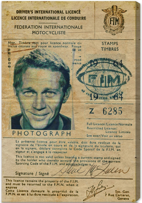 'Steve McQueen's Driver License' Canvas Art - PoppyLy