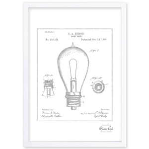 'Edison Lamp Base 1890 , Silver Metallic' Framed Art - PoppyLy