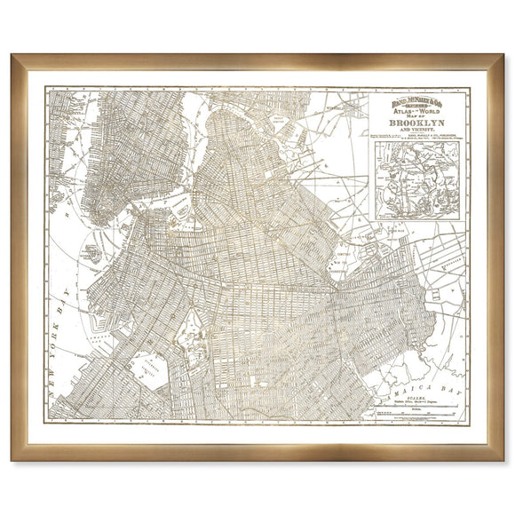 'Brooklyn Map' Framed Art - PoppyLy