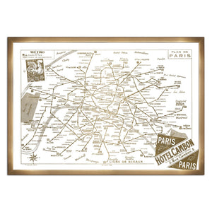 'Metro Map of Paris- Gold Metallic' Framed Art - PoppyLy