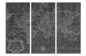 'World Map 1778 Triptych' Canvas Art - PoppyLy