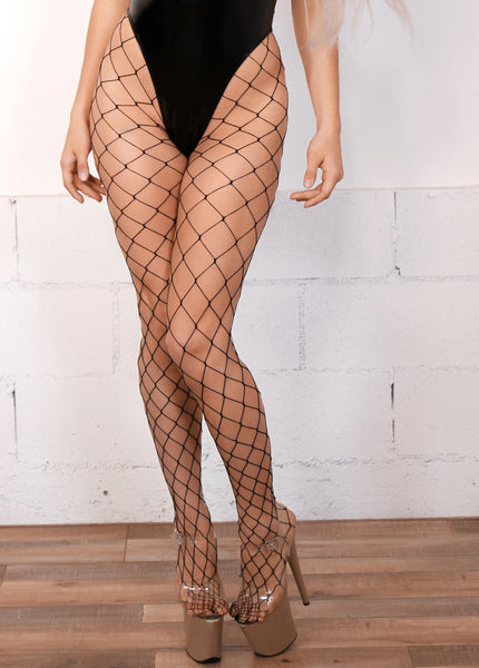 Big Hole Fishnet High Waisted Stockings