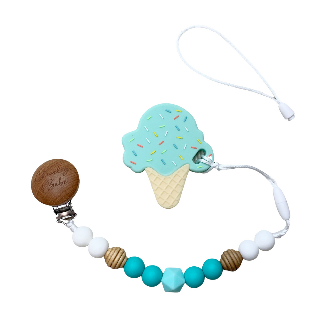 Pacifier Clip & Teether - Ice Cream