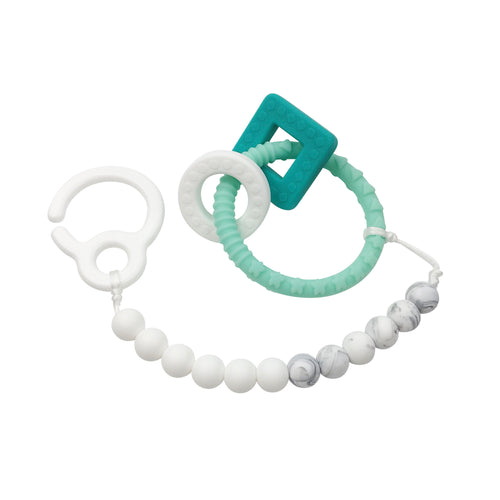 Stroller Clip & Teething Toy - Turquoise Ring