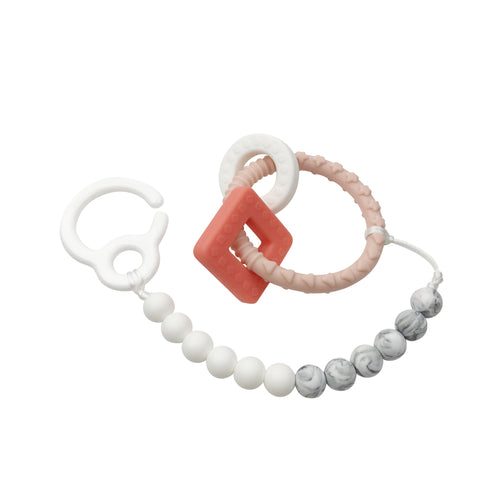 Stroller Clip & Teething Toy - Pink Ring