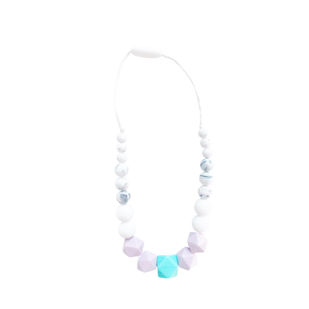 Toddler Teething Necklace- Aqua & Purple