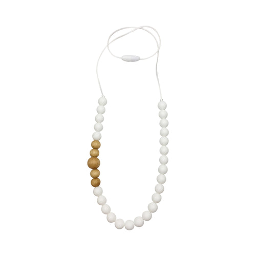 White Silicone and Wood Teething Necklace